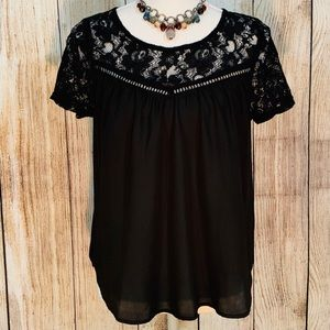 Women's Bleuh Ciel Black Lace Detailed Blouse